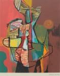 """BURLE MARX, ROBERTO (1909-1994). """"Sem título"""", serigrafia a cores, 72 X 60. Assinado no c.i.d. Apresenta marca d'água do """"Projeto Burle Marx""""."""
