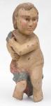 """Escultura de parede em cedro policromado representando """"Putti"""". Alt.: 61cm. Brasil - séc. XIX."""