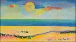 """ALDEMIR MARTINS (1922-2006). """"Marinha"""", óleo s/ tela, 16 X 28. Assinado e datado (1988) no c.i.d. e no verso. Reproduzido com foto no catálogo."""
