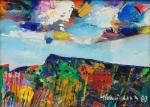 """ALDEMIR MARTINS (1922-2006). """"Abstrato"""", óleo s/ tela, 18 X 24. Assinado e datado (1983) no c.i.d. e no verso. Reproduzido com foto no catálogo."""