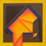 """ABELARDO ZALUAR (1924-1987). """"Incandescente"""", acrílica s/ eucatex, 90 X 90. Datado (1974) e titulado pelo artista no verso. Sem assinatura. Apresenta farta documentação autenticando a obra. Reproduzido com foto no catálogo."""