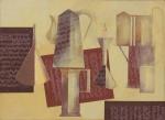 """SCLIAR, CARLOS (1920-2001). """"Objetos e Partituras"""", vinil e colagem encerados s/ tela, 55 x 75. Assinado e datado (1994) na parte inferior e no verso. Reproduzido com foto no catálogo."""