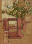 """SCLIAR, CARLOS (1920-2001). """"Natureza Morta com Flores e Aparelho"""", vinil e colagem encerados s/ tela, 75 x 55. Assinado e datado (1988) no c.i.d. e no verso. Reproduzido com foto no catálogo."""
