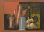 """SCLIAR, CARLOS (1920-2001). """"Composição (Objetos, Frutas, Documentos)"""", vinil e colagem encerado s/ tela, 55 x 75. Assinado e datado (1998) na parte inferior e no verso. Reproduzido com foto no catálogo."""