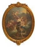 """FRANÇOIS LE MOYNE (FRANÇA, 1688-1737). """"Scène Romantique Avec Adonis et Aurore"""", óleo s/ tela, 95 X 77 (oval). Apresenta algumas inscrições na parte inferior da moldura. Pertencente ao espólio da tradicional """"Família Guinle"""" (Maria Thereza Guinle). Reproduzido com foto no catálogo."""