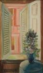 """DI CAVALCANTI, EMILIANO (1897-1976). """"Janela do Hotel Minerva em Roma - Itália"""", óleo s/ tela, 46 x 27. Assinado e datado (1964) no c.i.e. e no verso. Identificado também no verso. Cachet da famosa Galeria Contorno no verso. Reproduzido com foto no catálogo."""