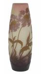 EMILE GALLÉ (FRANÇA, 1900). Esplêndido vaso art nouveau em pasta de vidro acidado decorado com ramos, folhas e flores nas cores lilás, verde, branco e rosa. Alt.: 32,5 cm. Assinado. Reproduzido com foto no catálogo. (Em função da fragilidade, este lote só poderá ser enviado para fora do estado através de transportadora especializada).