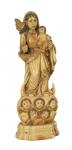 NOSSA SENHORA DO ROSÁRIO COM MENINO. Raríssima imagem em marfim Indo- português. Alt.: 18cm. Gôa - séc. XVIII. Acompanha coroa.